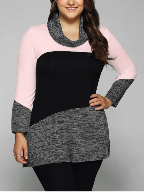 outfits Heathered Cowl Neck Plus Size Blouse - PINK 5XL Mobile