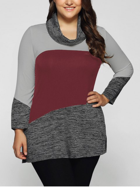 unique Heathered Cowl Neck Plus Size Blouse - DARK RED 2XL Mobile