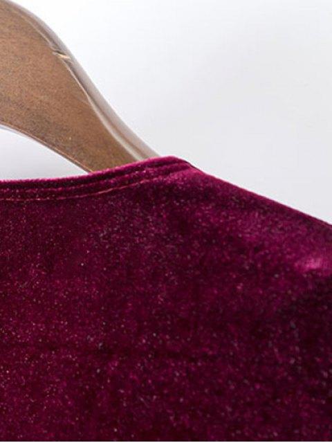 women's Velvet A-Line Dress - WINE RED S Mobile