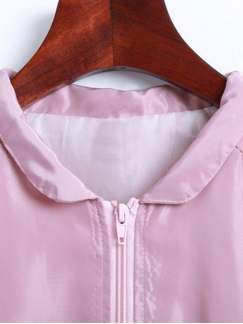 shop Letter Print Stand Neck Windbreaker Jacket - PINK M Mobile