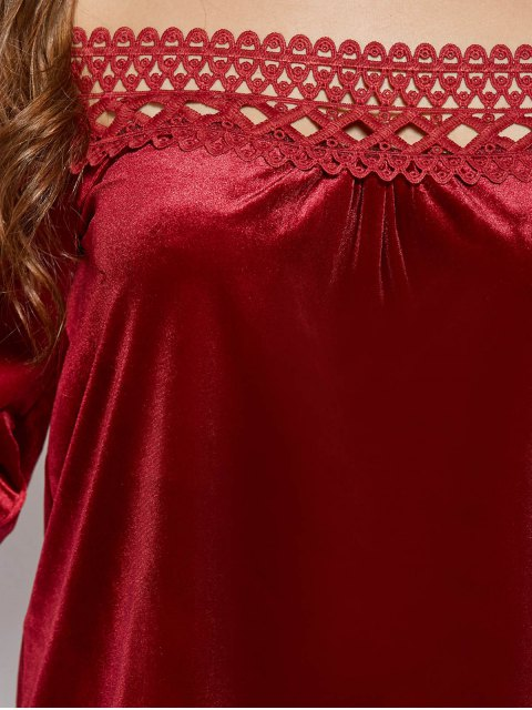 hot Lace Trim Off The Shoulder Velvet Top - BURGUNDY L Mobile