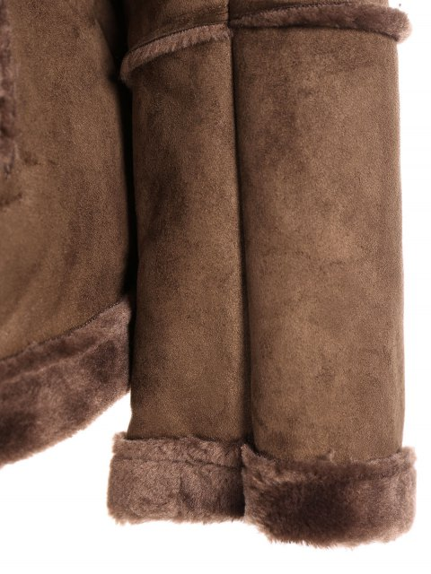 trendy Faux Shearling Jacket - COFFEE XL Mobile