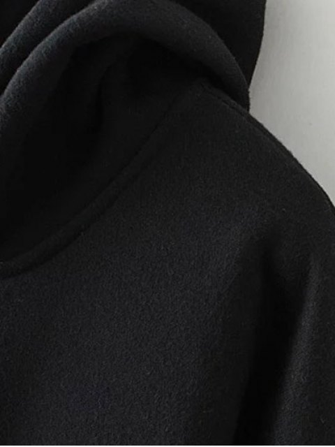 trendy Patched Zip-Up Hoodie - BLACK 3XL Mobile