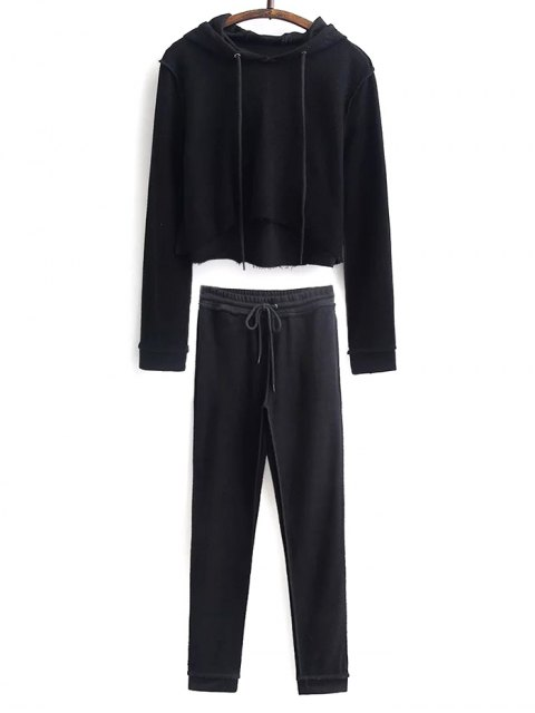 womens Cropped Hoodie and Drawstring Sports Pants - BLACK S Mobile