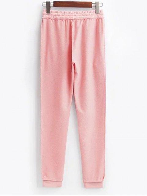 ladies Cropped Hoodie and Drawstring Sports Pants - PINK S Mobile