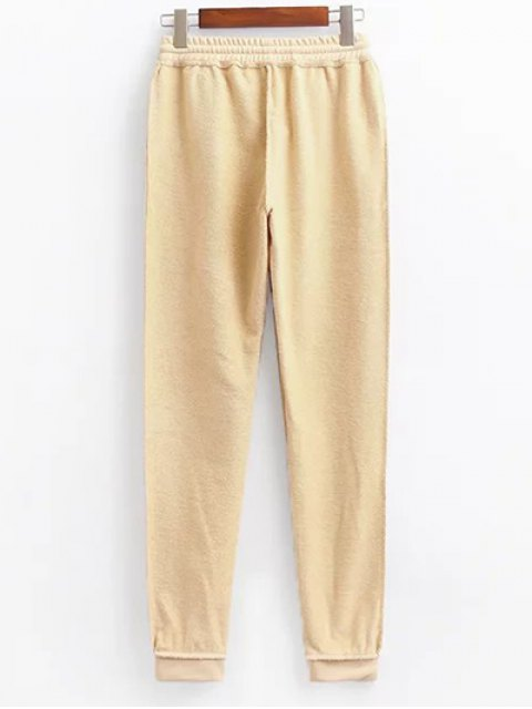 best Cropped Hoodie and Drawstring Sports Pants - LIGHT KHAKI M Mobile