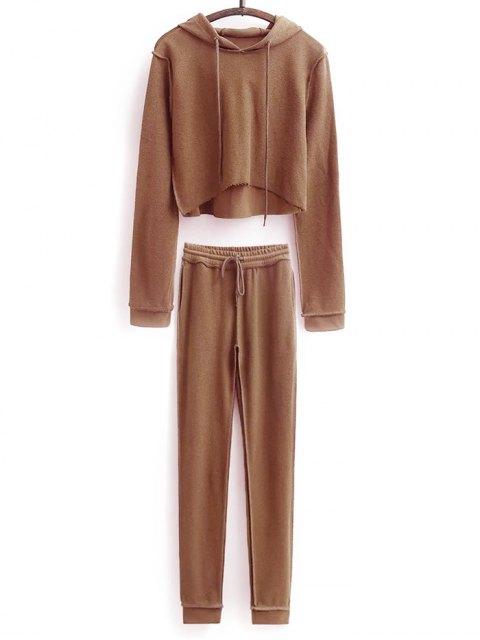 new Cropped Hoodie and Drawstring Sports Pants - DARK KHAKI L Mobile