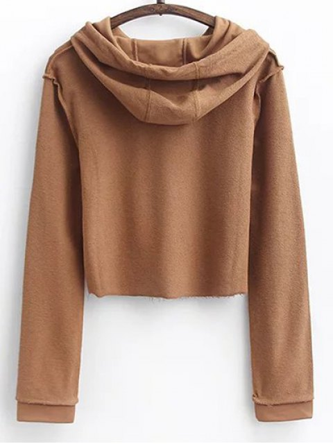 outfit Cropped Hoodie and Drawstring Sports Pants - DARK KHAKI S Mobile