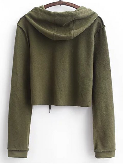 shop Cropped Hoodie and Drawstring Sports Pants - ARMY GREEN M Mobile