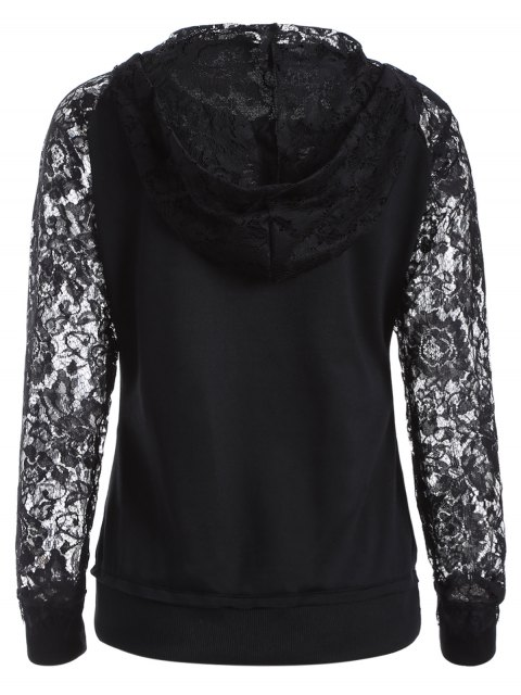 latest Lace Spliced Lace Up Hoodie - BLACK XL Mobile