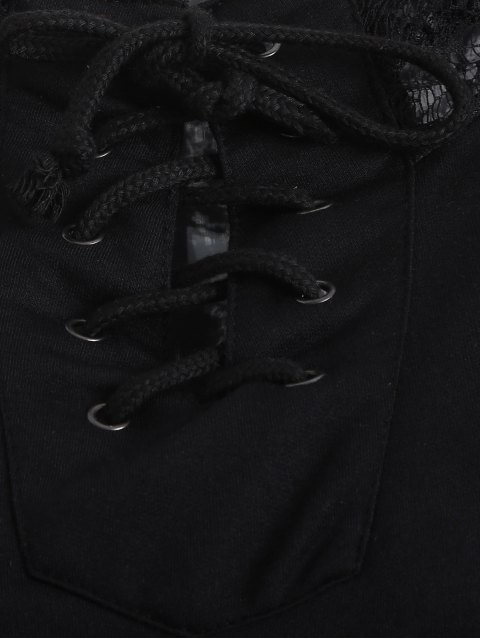 fashion Lace Spliced Lace Up Hoodie - BLACK M Mobile