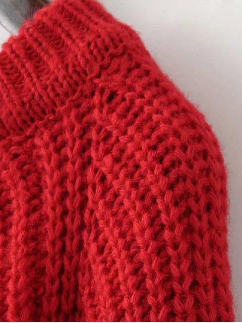 trendy Slit Asymmetric Sweater - BLACK ONE SIZE Mobile