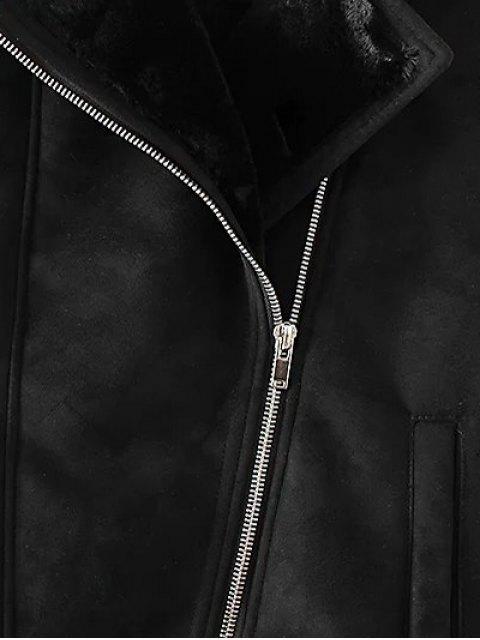 women Zip-Up Fuax Suede Waistcoat - BLACK M Mobile