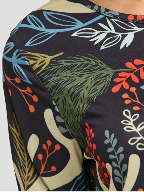 sale Christmas Leaf Antler Printed A Line Dress - COLORMIX ONE SIZE Mobile