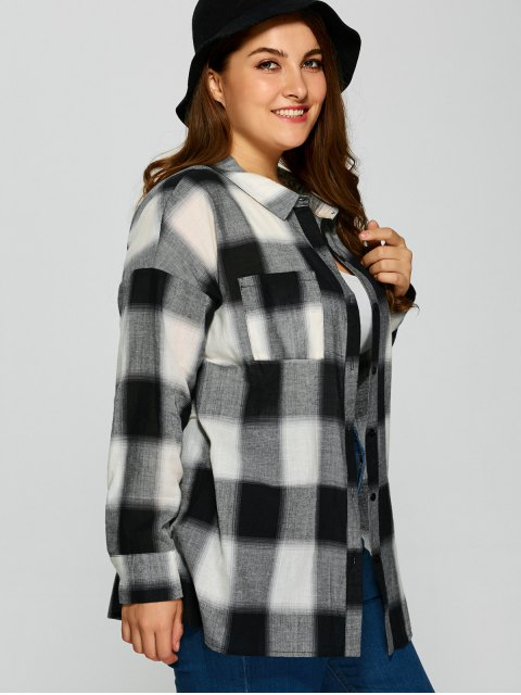 outfit Plaid Drop Shoulder Plus Size Shirt - CHECKED 2XL Mobile