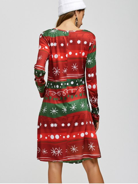 affordable Christmas Snowflake Print A Line Dress - RED AND GREEN ONE SIZE Mobile
