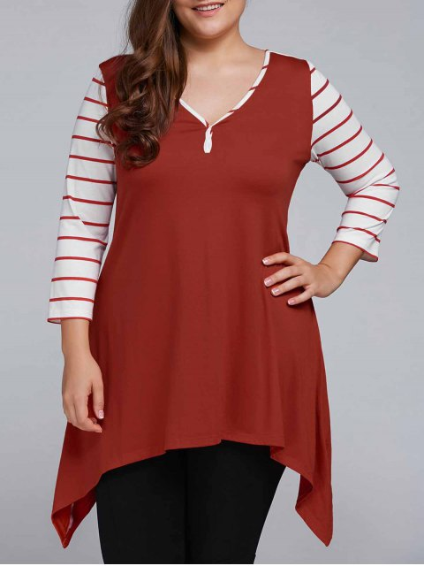 best Striped Sleeve Asymmetrical Plus Size Tee - CLARET 3XL Mobile