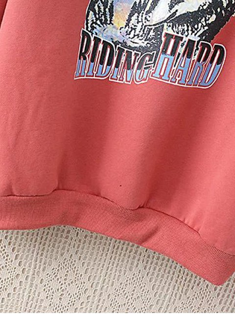 women's Fleeced Lace Up Sleeve Graphic Sweatshirt - WATERMELON RED 2XL Mobile