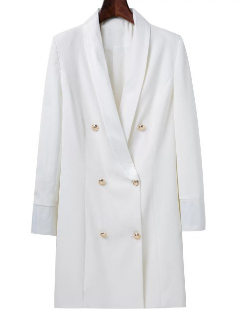 shops Shawl Neck Work Peacoat - WHITE S Mobile