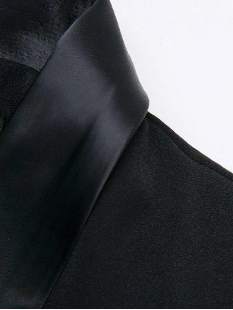 latest Shawl Neck Work Peacoat - BLACK L Mobile