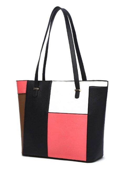 shop Faux Leather Color Block Shoulder Bag - PINK  Mobile