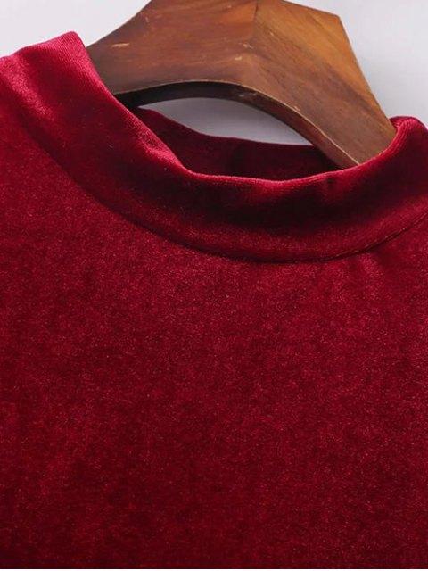 chic Cold Shoulder Velour Dress - RED L Mobile