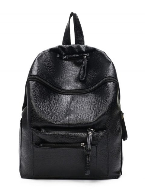 latest Pockets Zippers Textured Leather Backpack - BLACK  Mobile