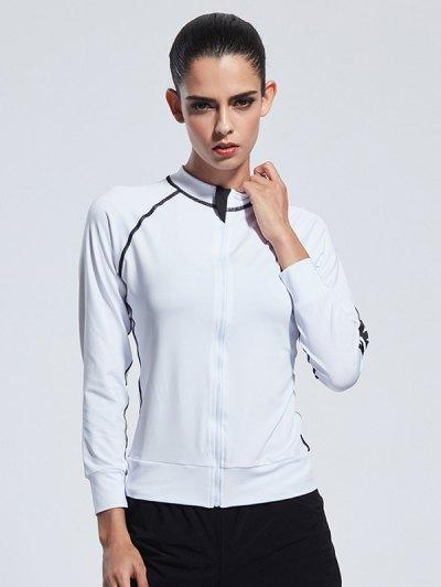 Bodycon Zipper Yoga Jacket - WHITE L Mobile