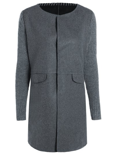 Knitted Sleeve Spliced Round Neck Coat - Deep Gray