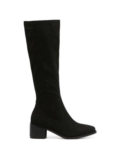 Zip Up Chunky Heel Knee High Boots - BLACK 39 Mobile