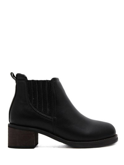 Faux Leather Chunky Heel Ankle Boots - BLACK 38 Mobile