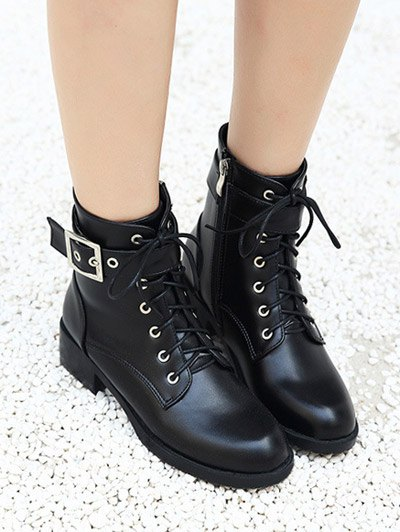 Chunky Heel Buckle Strap Combat Boots - BLACK 38 Mobile