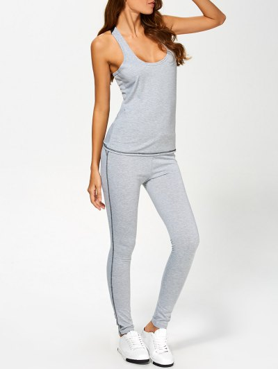U Neck Color Block Tank Top and Sports Skinny Leggings