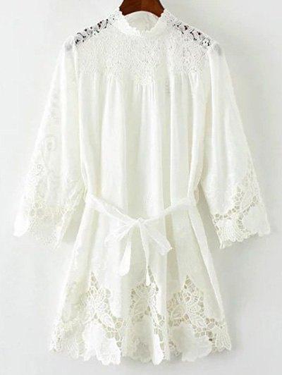 Ceñido Empalmado Mini Vestido De Encaje - Blanco