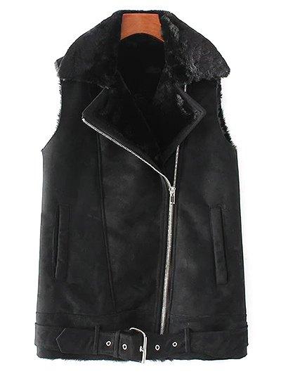 Zip-Up Fuax Suede Waistcoat - BLACK L Mobile
