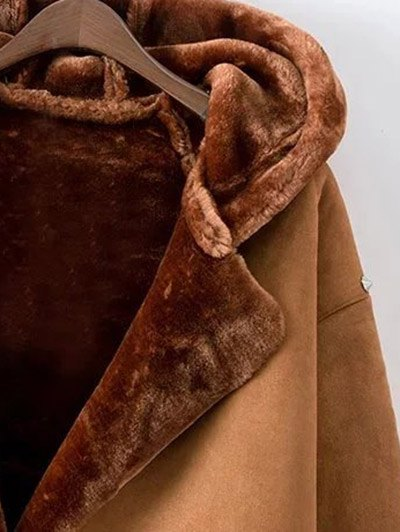 Hooded Faux Shearling Coat - CAMEL L Mobile