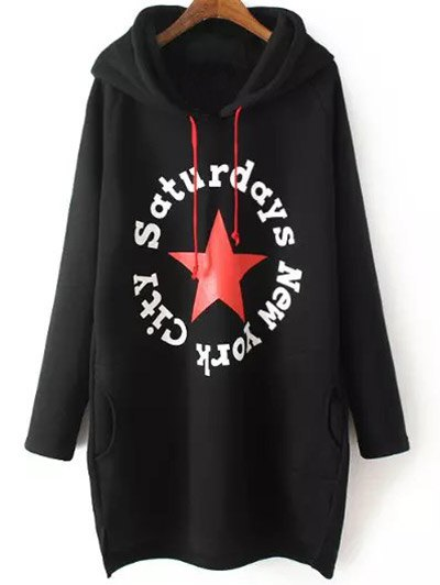 String Letter Hoodie - BLACK XL Mobile