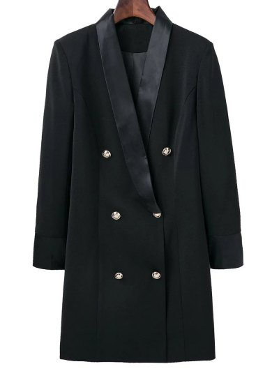 Shawl Neck Work Peacoat - BLACK L Mobile