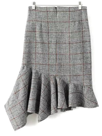 Plaid Tweed Mermaid Skirt - GRAY L Mobile