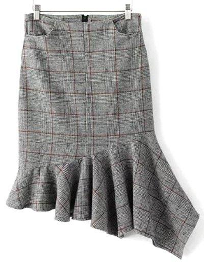 Plaid Tweed Mermaid Skirt - GRAY M Mobile