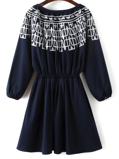 Contrasting Embroidery Long Sleeve Dress - MIDNIGHT L Mobile