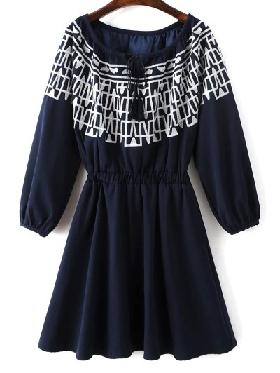 Contrasting Embroidery Long Sleeve Dress - MIDNIGHT M Mobile