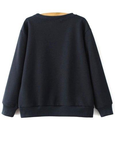 Sequins Letter Sweatshirt - CADETBLUE M Mobile