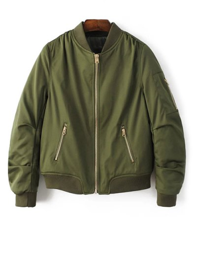 Pilot Jacket With Pockets - ARMY GREEN S Mobile