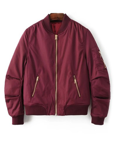 Pilot Jacket With Pockets - BURGUNDY S Mobile