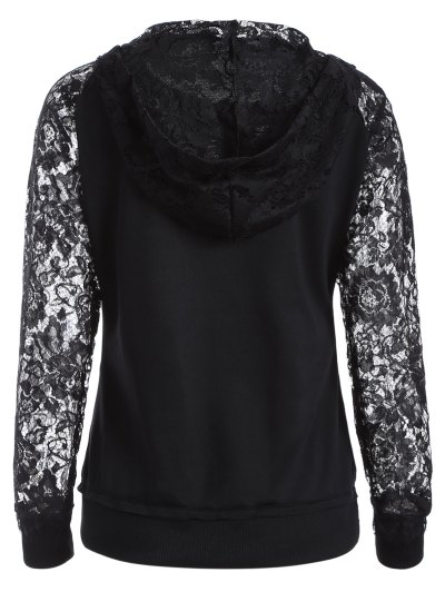 Lace Spliced Lace Up Hoodie - BLACK L Mobile