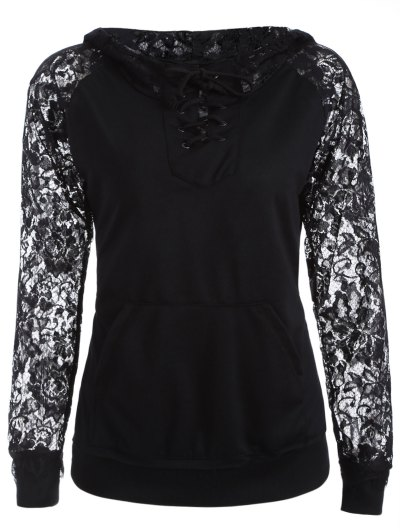 Lace Spliced Lace Up Hoodie - BLACK M Mobile