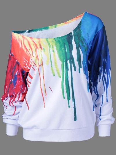 Skew Collar Dripping Paint Sweatshirt - WHITE L Mobile