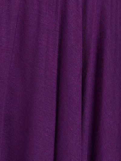 Asymmetrical Plus Size Empire Waist Blouse - PURPLE 5XL Mobile