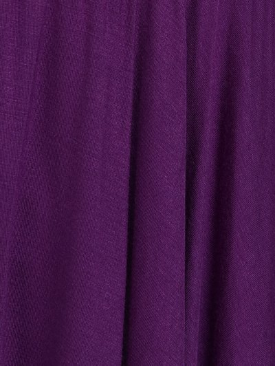 Asymmetrical Plus Size Empire Waist Blouse - PURPLE 4XL Mobile